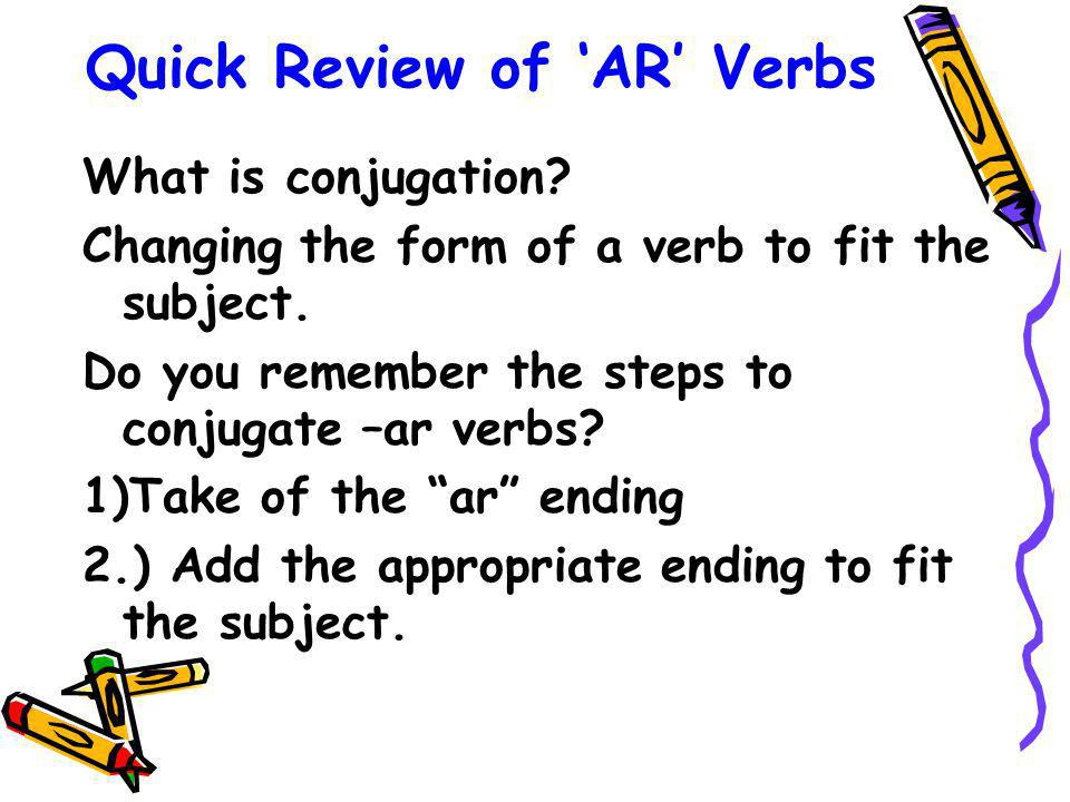Quick Review of 'AR' Verbs