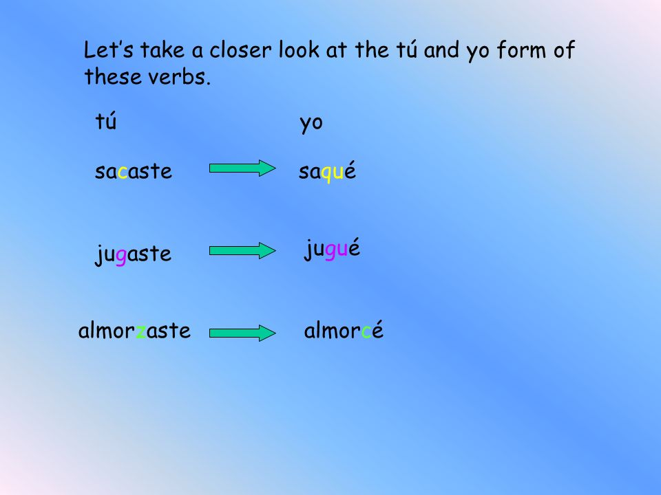 Let's take a closer look at the tú and yo form of these verbs.
