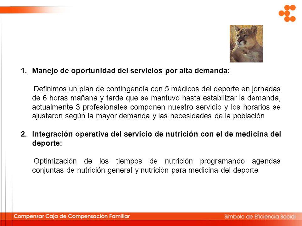 Manejo de oportunidad del servicios por alta demanda: