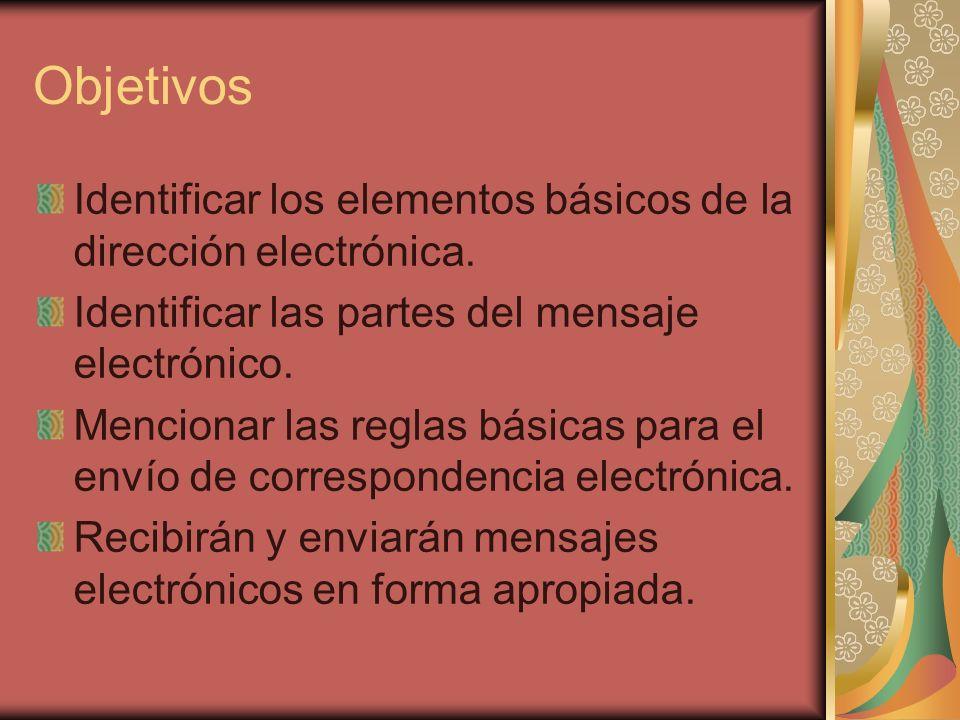 Objetivos Identificar los elementos básicos de la dirección electrónica. Identificar las partes del mensaje electrónico.
