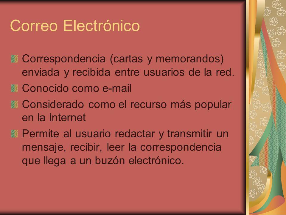 Correo Electrónico Correspondencia (cartas y memorandos) enviada y recibida entre usuarios de la red.