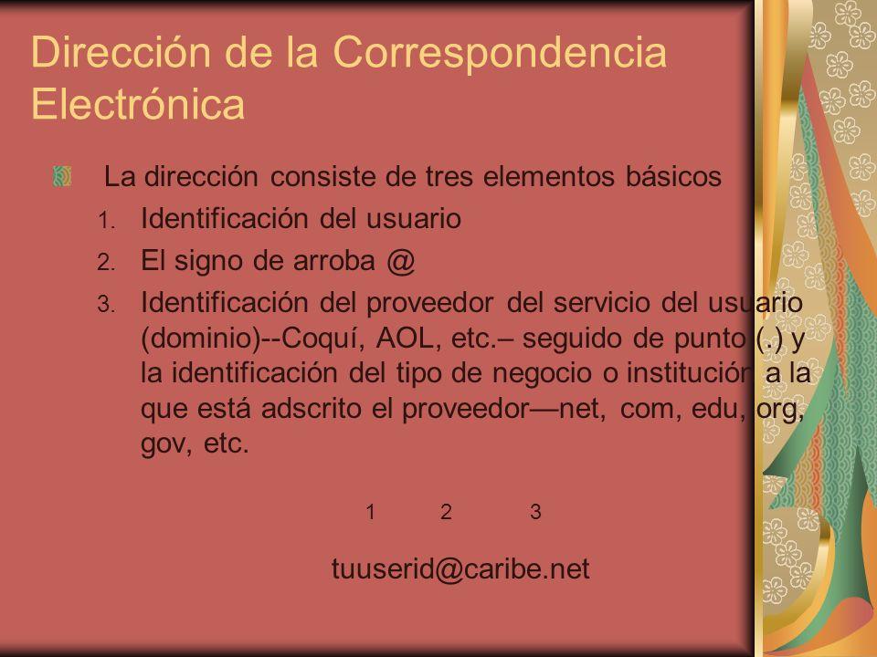 Dirección de la Correspondencia Electrónica