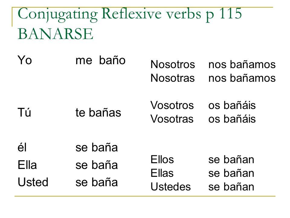 Conjugating Reflexive verbs p 115 BANARSE