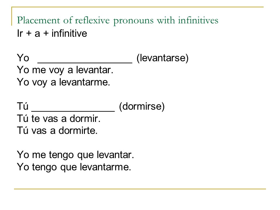 Placement of reflexive pronouns with infinitives
