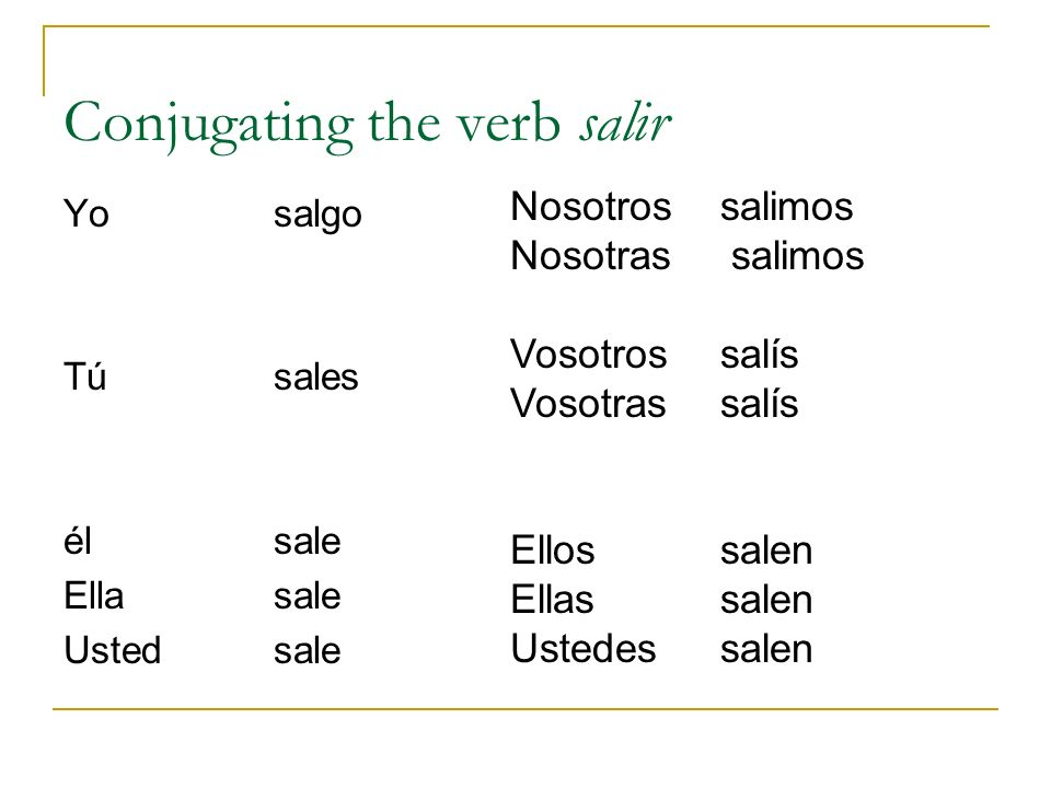 Conjugating the verb salir