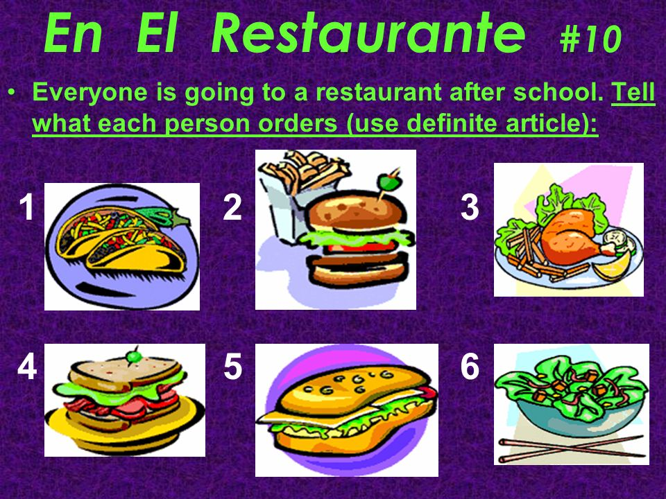 En El Restaurante #10Everyone is going to a restaurant after school. Tell what each person orders (use definite article):