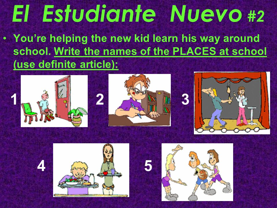 El Estudiante Nuevo #2You're helping the new kid learn his way around school. Write the names of the PLACES at school (use definite article):