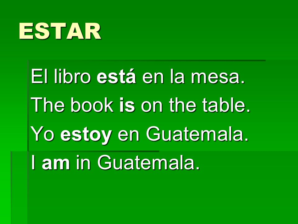 ESTAR El libro está en la mesa. The book is on the table.