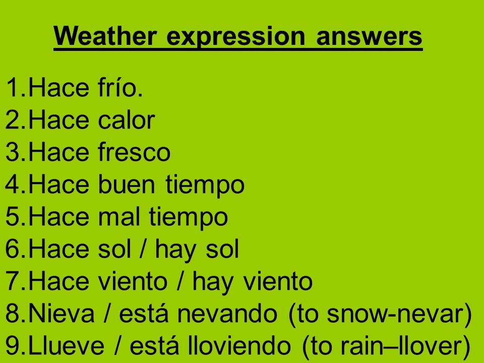 Weather expression answers