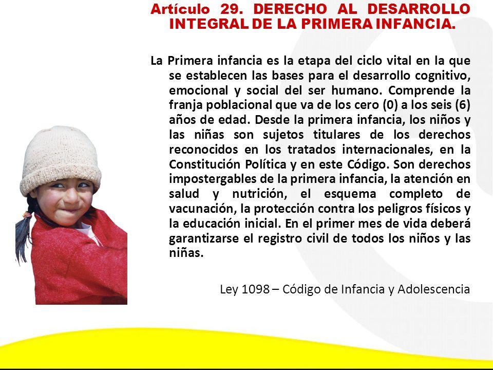 Artículo 29. DERECHO AL DESARROLLO INTEGRAL DE LA PRIMERA INFANCIA.