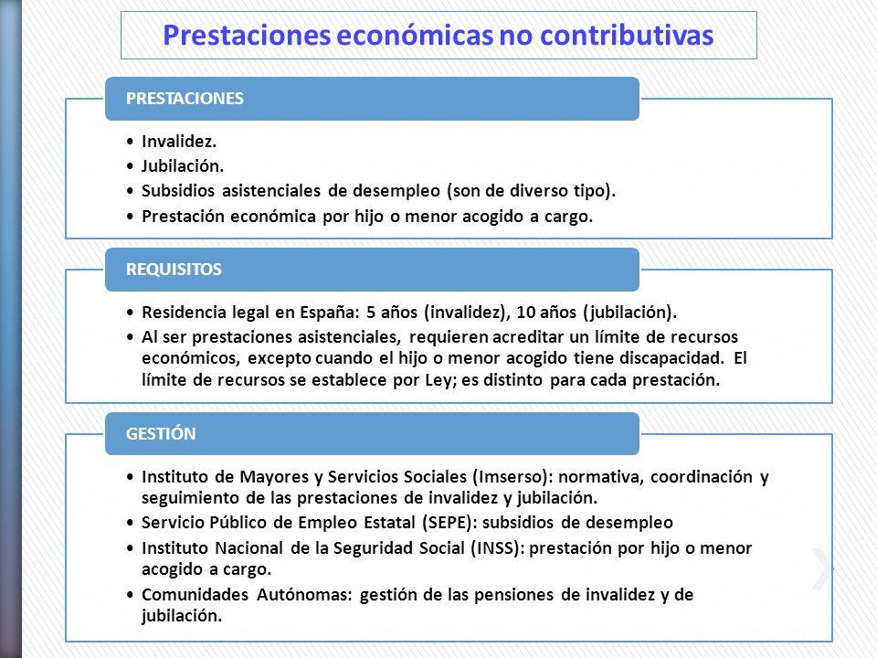 Prestaciones económicas no contributivas
