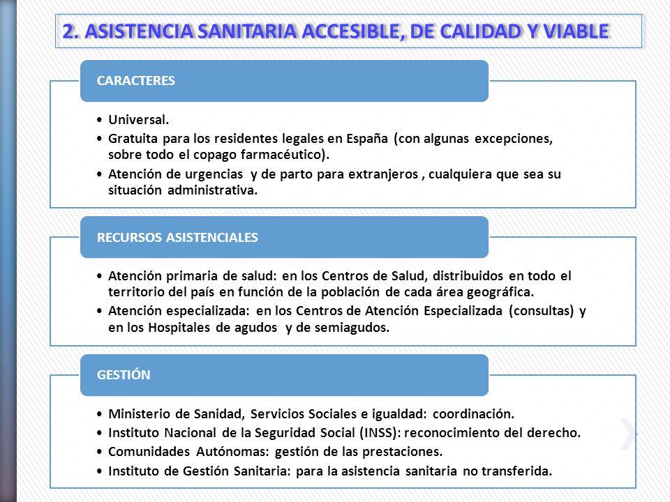 2. ASISTENCIA SANITARIA ACCESIBLE, DE CALIDAD Y VIABLE