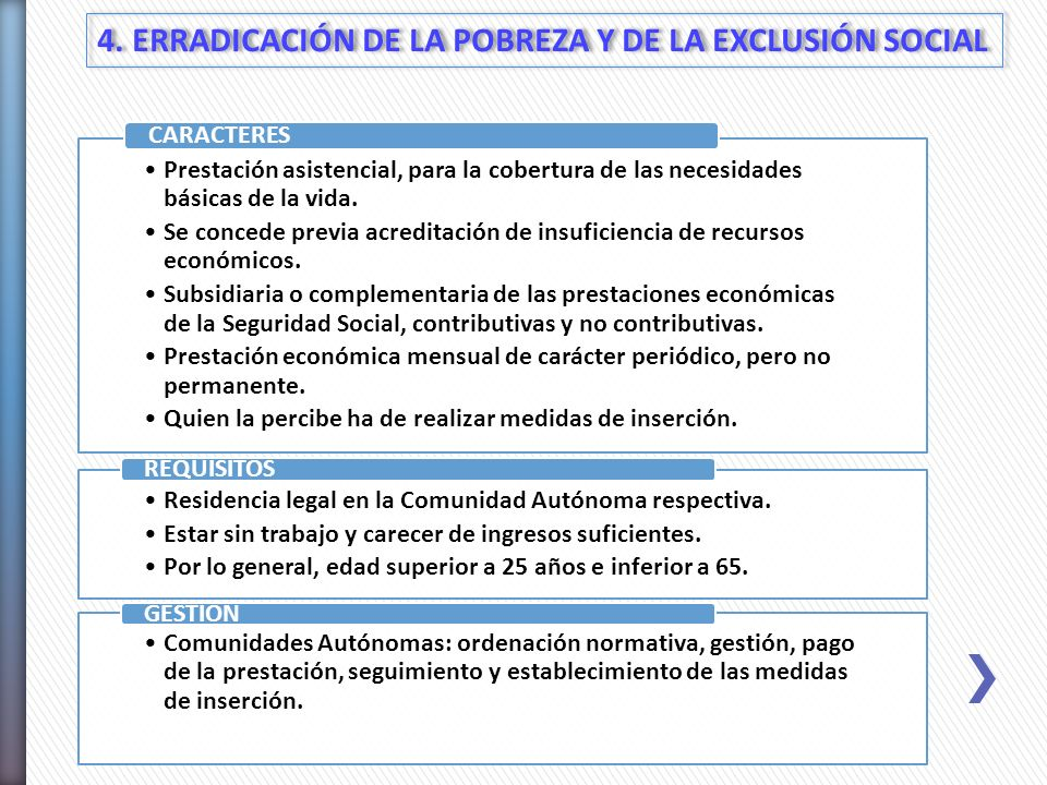 4. ERRADICACIÓN DE LA POBREZA Y DE LA EXCLUSIÓN SOCIAL