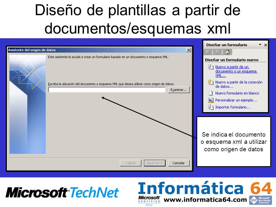 Diseño de plantillas a partir de documentos/esquemas xml