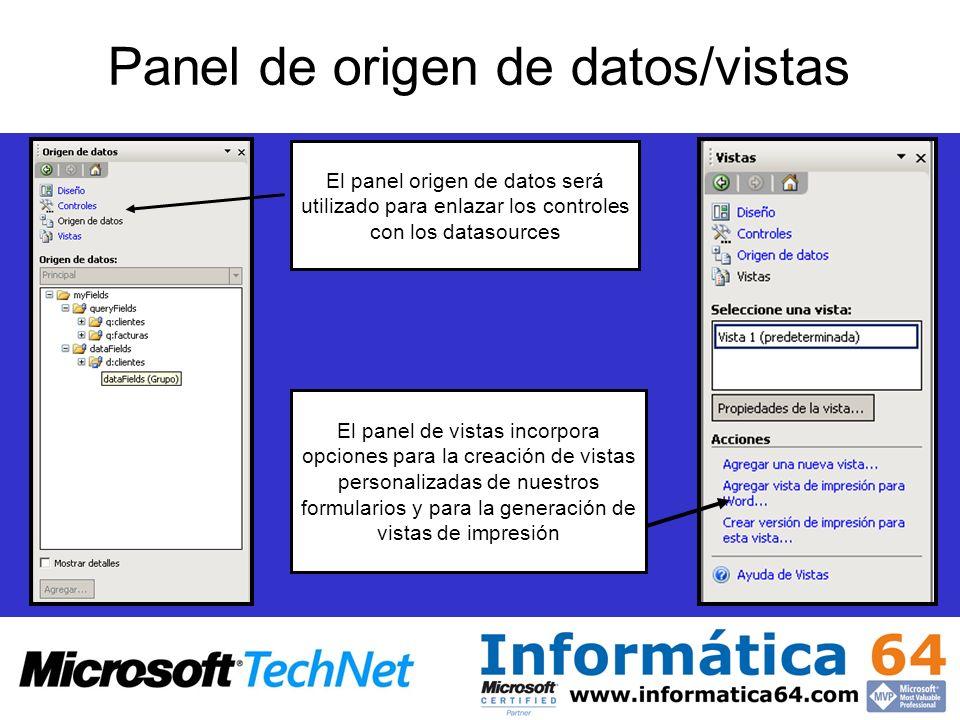Panel de origen de datos/vistas