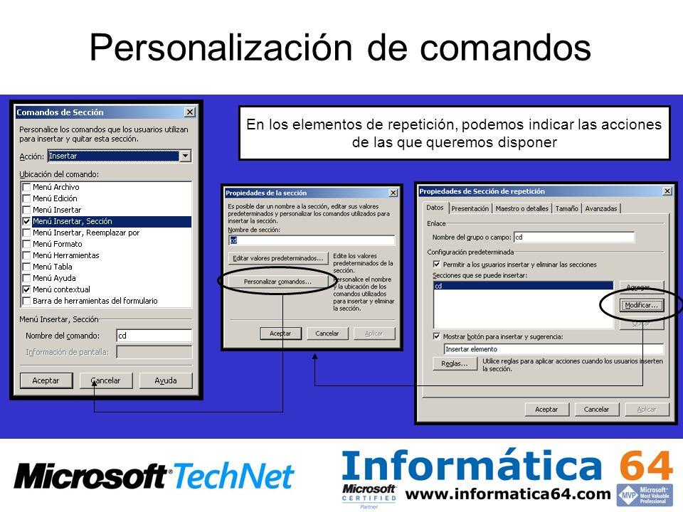 Personalización de comandos