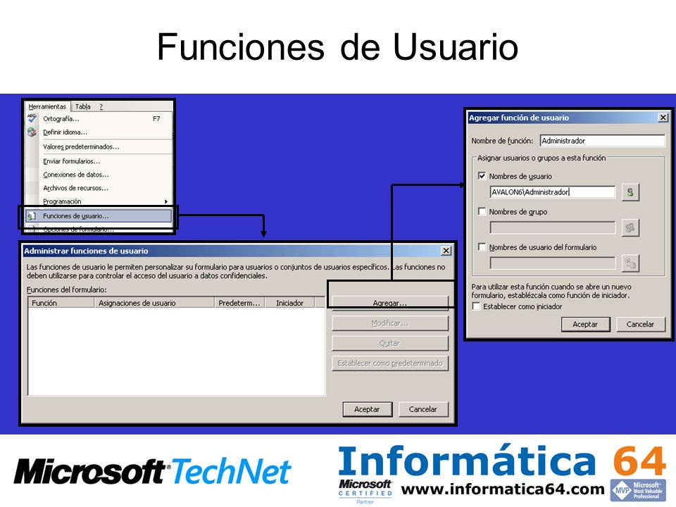 Funciones de Usuario