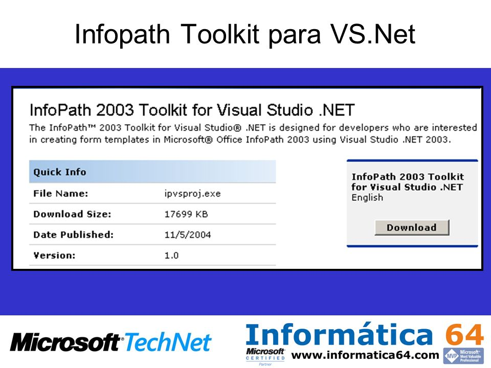 Infopath Toolkit para VS.Net