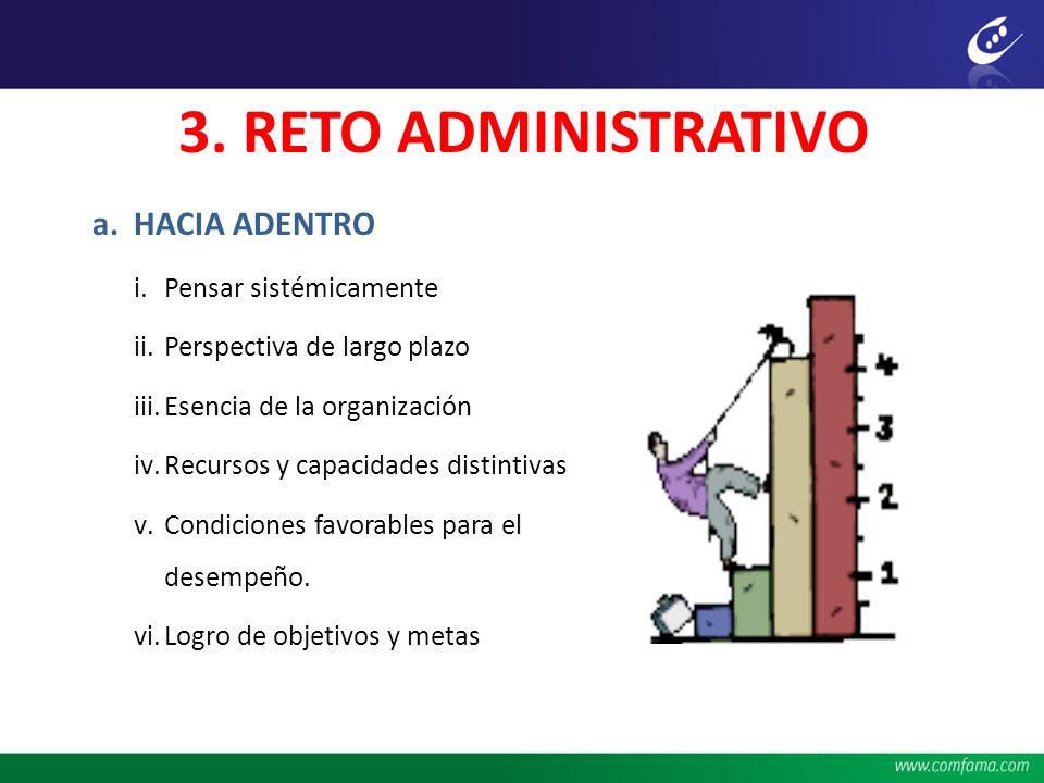 3. RETO ADMINISTRATIVO HACIA ADENTRO Pensar sistémicamente