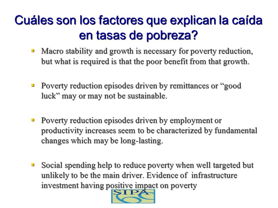 Cuáles son los factores que explican la caída en tasas de pobreza
