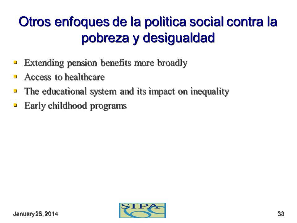 Otros enfoques de la politica social contra la pobreza y desigualdad
