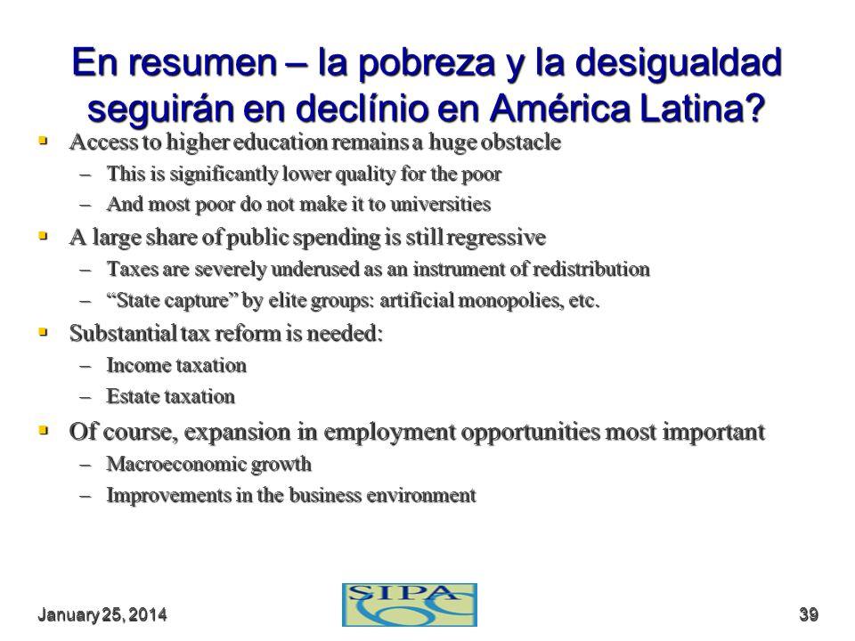 En resumen – la pobreza y la desigualdad seguirán en declínio en América Latina