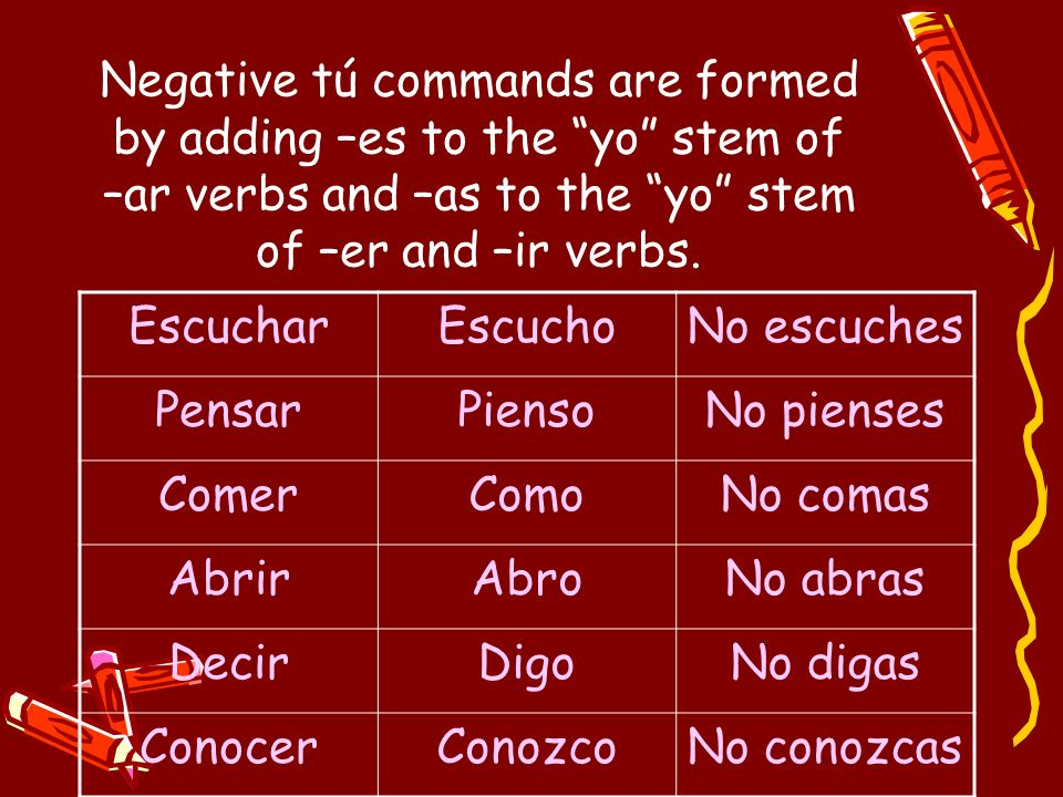 Negative tú commands are formed by adding –es to the yo stem of –ar verbs and –as to the yo stem of –er and –ir verbs.