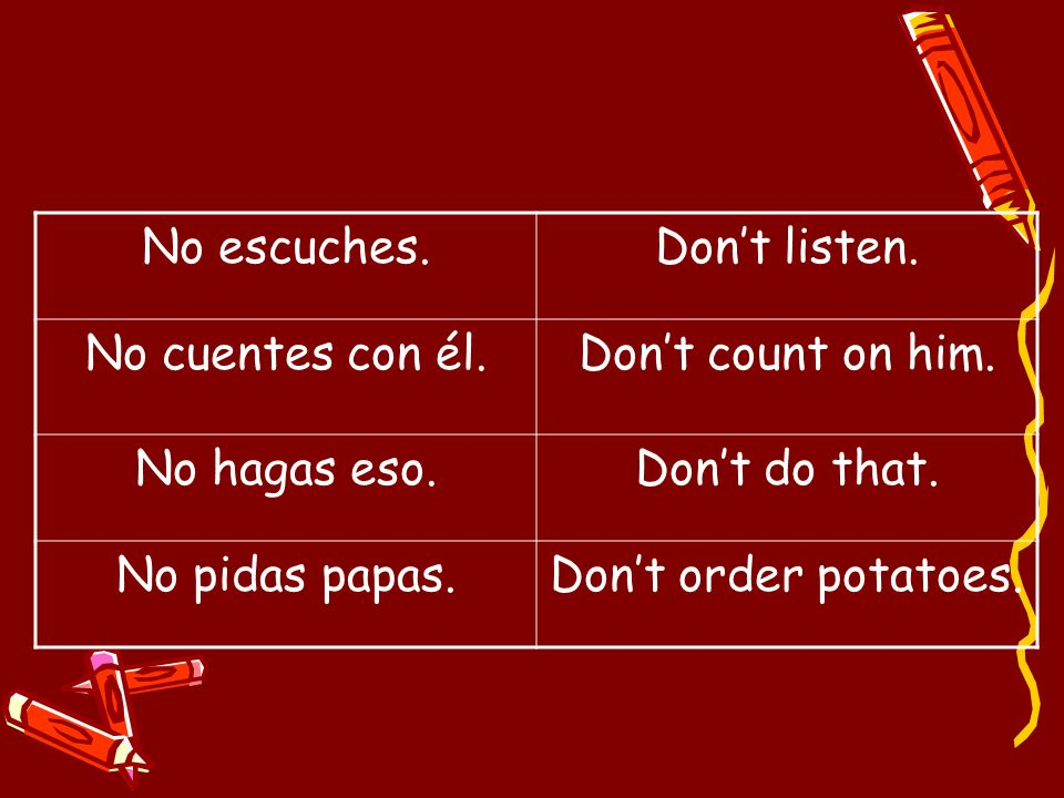 No escuches. Don't listen. No cuentes con él. Don't count on him. No hagas eso. Don't do that. No pidas papas.