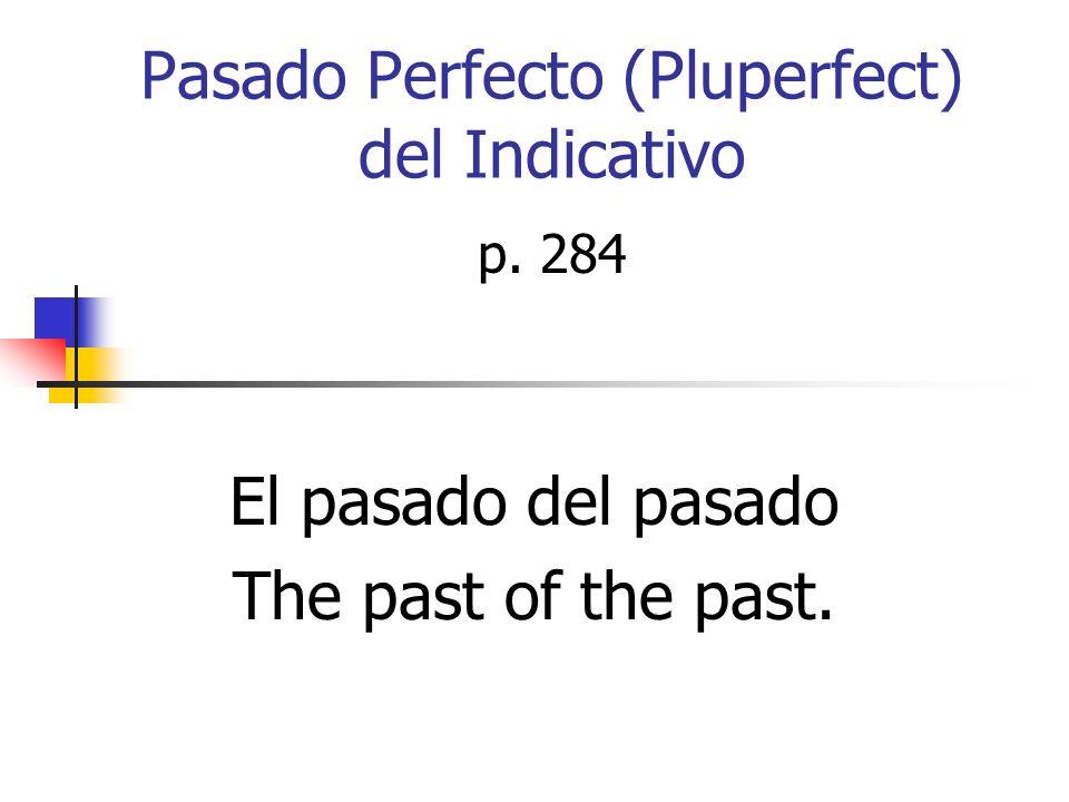 Pasado Perfecto (Pluperfect) del Indicativo