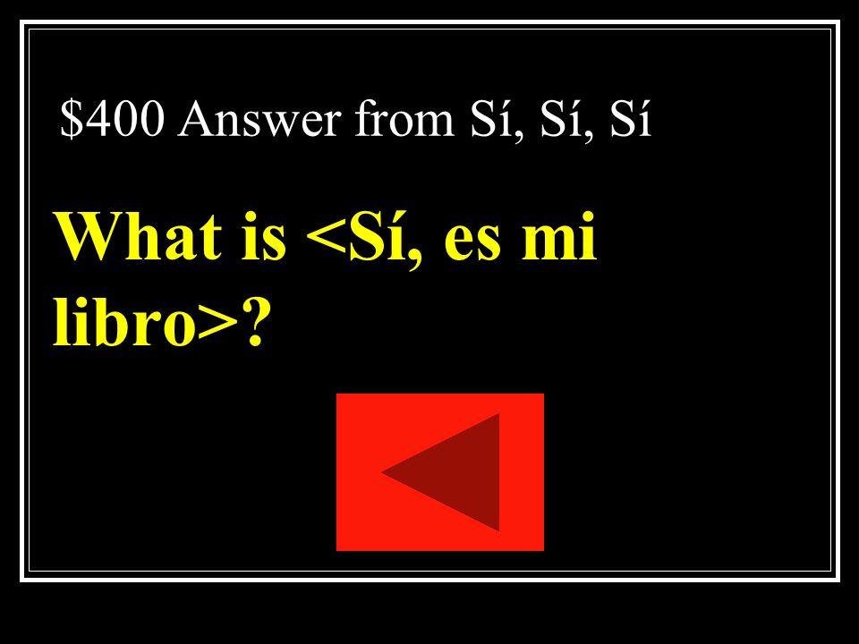 What is <Sí, es mi libro>