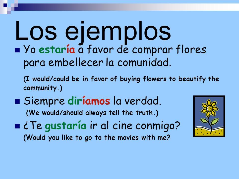 Los ejemplosYo estaría a favor de comprar flores para embellecer la comunidad.