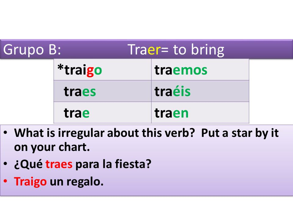 Grupo B: Traer= to bring