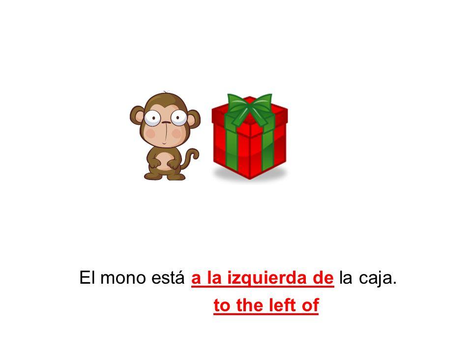 El mono está a la izquierda de la caja.