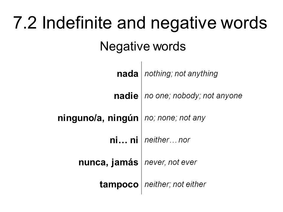 Negative words nada nadie ninguno/a, ningún ni… ni nunca, jamás