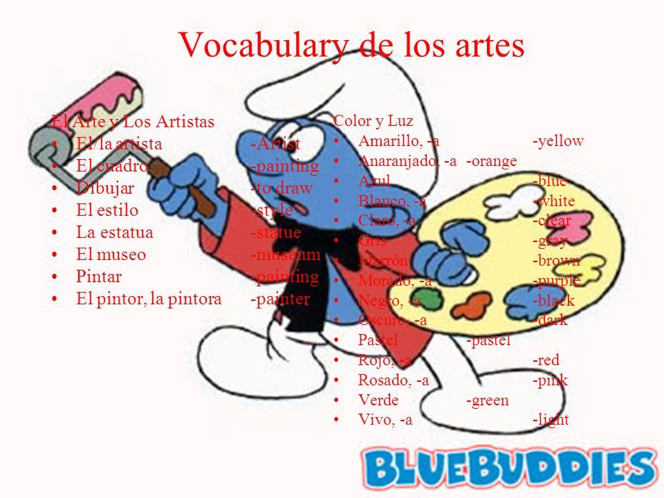 Vocabulary de los artes