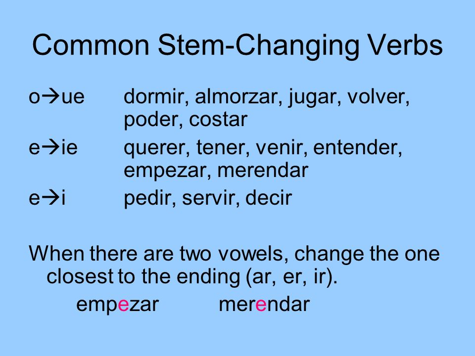 Common Stem-Changing Verbs