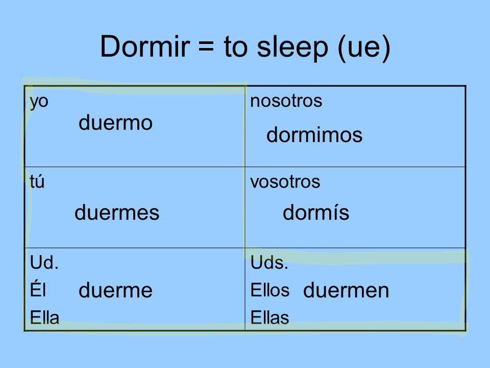 Dormir = to sleep (ue) duermo dormimos duermes dormís duerme duermen