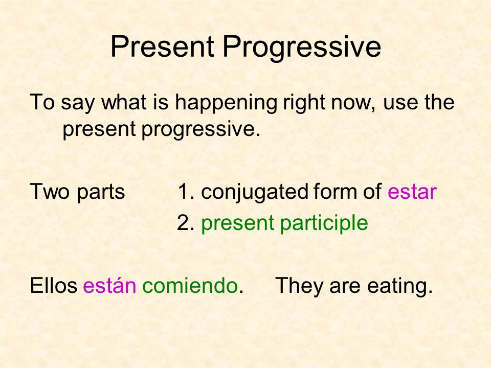 Present Progressive To say what is happening right now, use the present progressive. Two parts 1. conjugated form of estar.