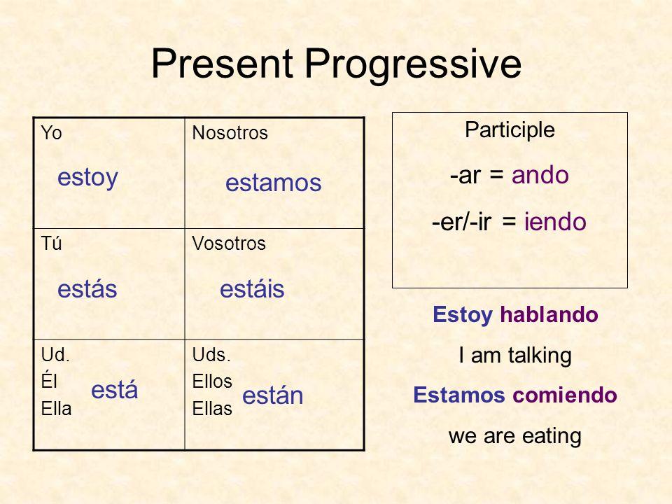 Present Progressive -ar = ando -er/-ir = iendo estoy estamos estás
