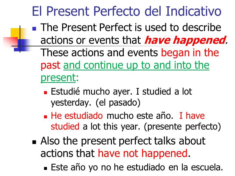 El Present Perfecto del Indicativo