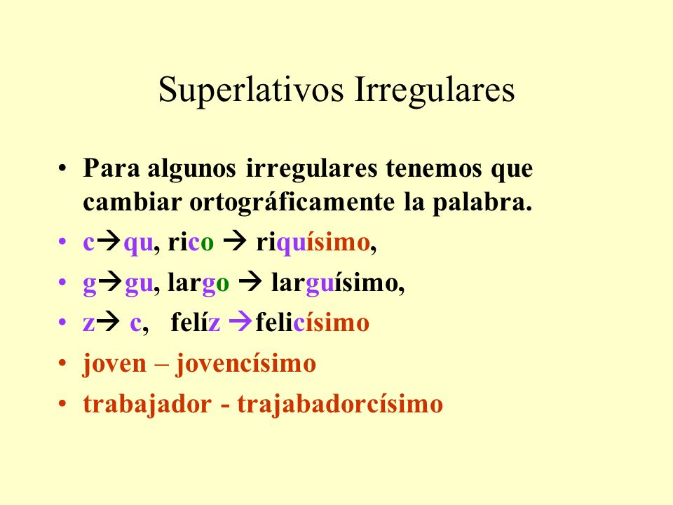 Superlativos Irregulares