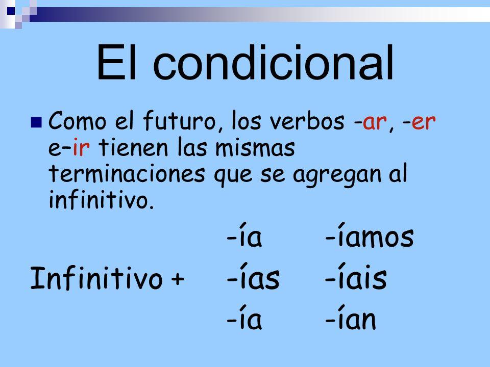 El condicional Infinitivo + -ías -íais
