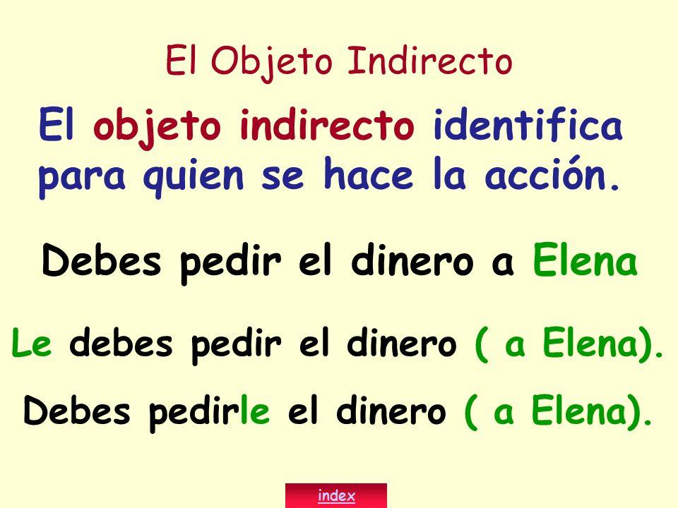 El objeto indirecto identifica para quien se hace la acción.