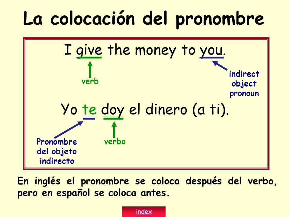 La colocación del pronombre