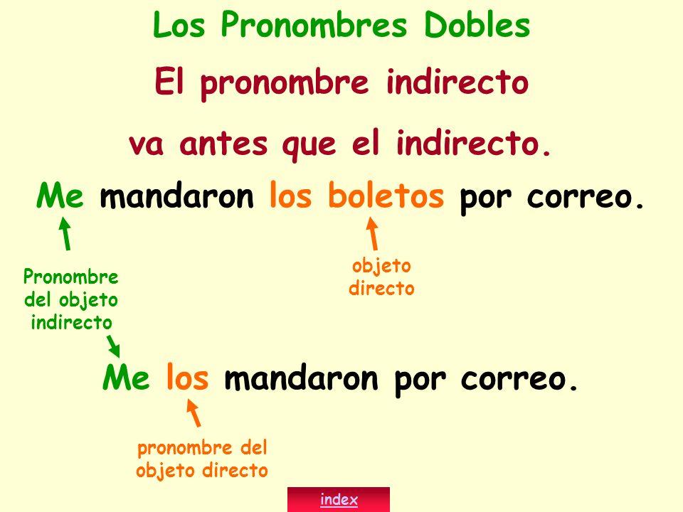 El pronombre indirecto va antes que el indirecto.