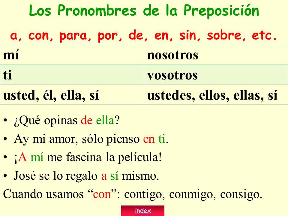 Los Pronombres de la Preposición
