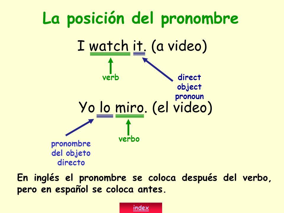 La posición del pronombre