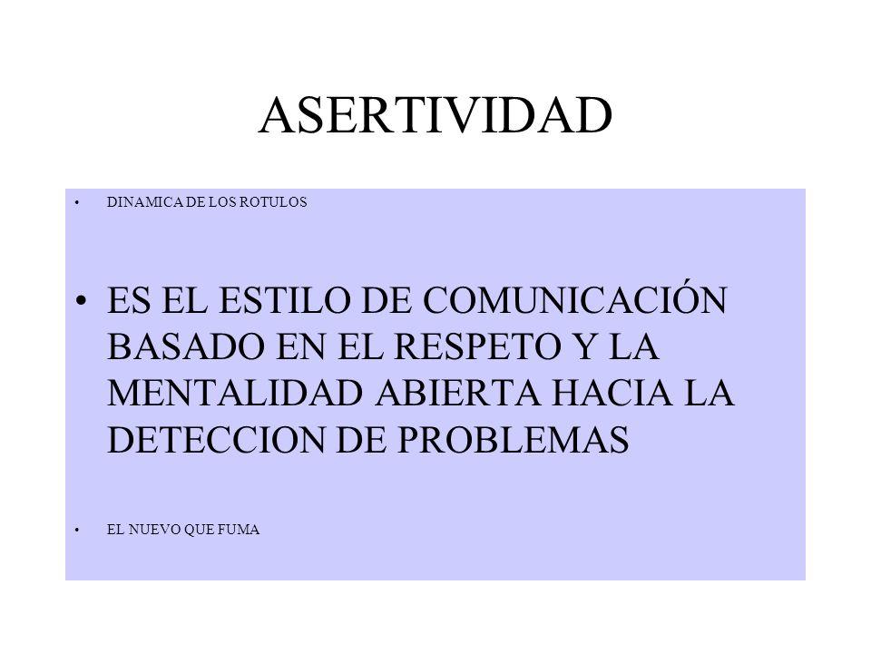 ASERTIVIDAD DINAMICA DE LOS ROTULOS. ES EL ESTILO DE COMUNICACIÓN BASADO EN EL RESPETO Y LA MENTALIDAD ABIERTA HACIA LA DETECCION DE PROBLEMAS.
