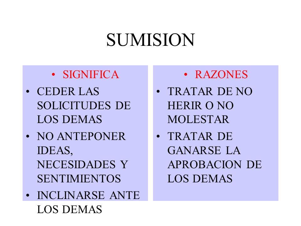 SUMISION SIGNIFICA CEDER LAS SOLICITUDES DE LOS DEMAS