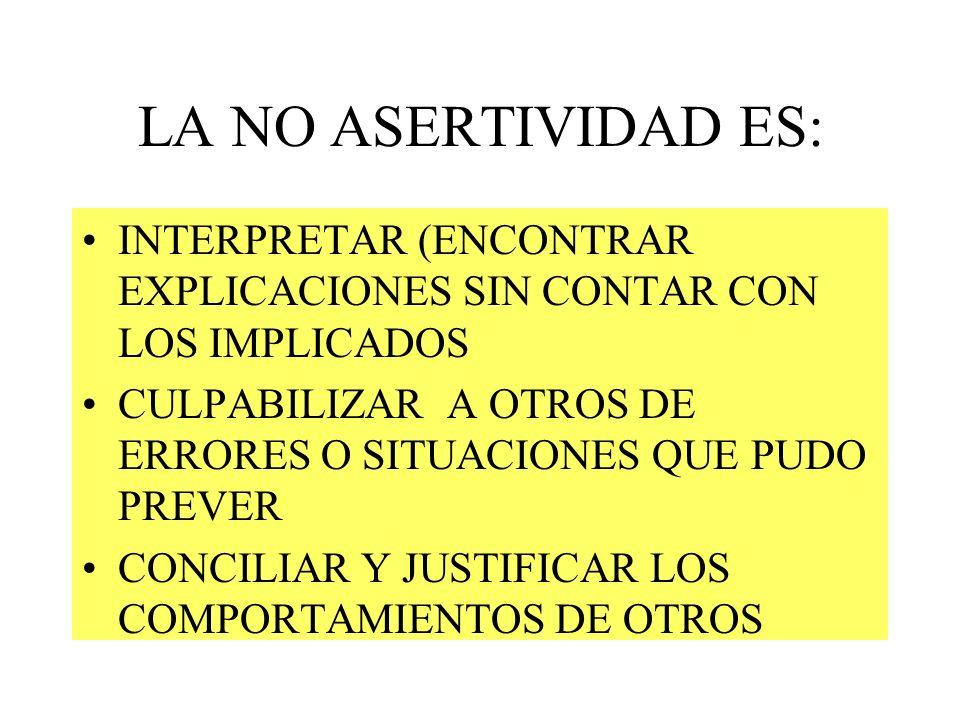 LA NO ASERTIVIDAD ES: INTERPRETAR (ENCONTRAR EXPLICACIONES SIN CONTAR CON LOS IMPLICADOS.
